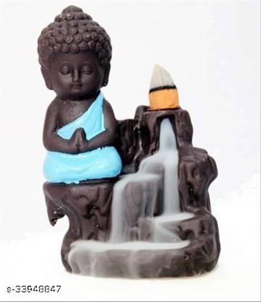 Handcrafted Meditating baby Monk Buddha Smoke Backflow Cone Incense Holder Decorative Showpiece  -  12 cm (Polyresin, Multicolor)