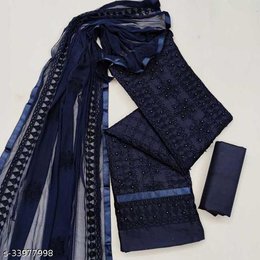 Cotton Embroidered Kurta & Churidar Material(Unstitched)