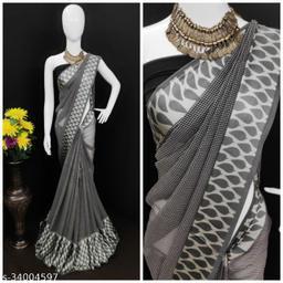 Beautiful printed  satin patta saree