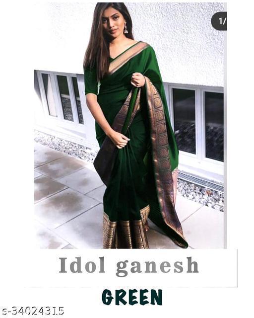 Soft Banarasi Silk Saree With Contrast Pallu Idol Ganesh Design