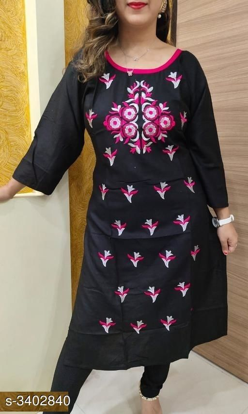 Kurtis & Kurtas Stylish 14 Kg Heavy Rayon Women's Kurti  *Fabric* 14 Kg Heavy Rayon  *Sleeves* 3/4 Sleeves Are Included  *Size* 46 in , 48 in  *Length* Up to 46 in  *Type* Stitched  *Description* It Has 1 Piece Of Women's Kurti  *Work* Embroidery Work  *Sizes Available* 42, 46, 48 *   Catalog Rating: ★3.8 (18)  Catalog Name: Navya Stylish 14 Kg Heavy Rayon Women's Kurtis Vol 2 CatalogID_472286 C74-SC1001 Code: 584-3402840-