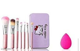 Hello Kitty PINK BRUSH HIGH QUALITY MAKEUP BRUSH(Pack of 7) WITH PUFF