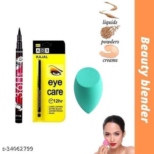 36h black waterproof eyeliner pack of 1+ads eye care kajal pack of 1+ beauty blender pack of 1