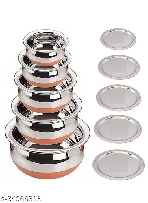 Stainless Steel Copper Bottom Cooking Serving Biryani, Punjabi Pot Pan Combo Handis with Flat Induction bottom mirror finish design Stainless Steel Copper Bottom Prabhu Chetty/Handi/Pot with Lid (Silver)(set of 5 pcs handies with ss lid 5)
