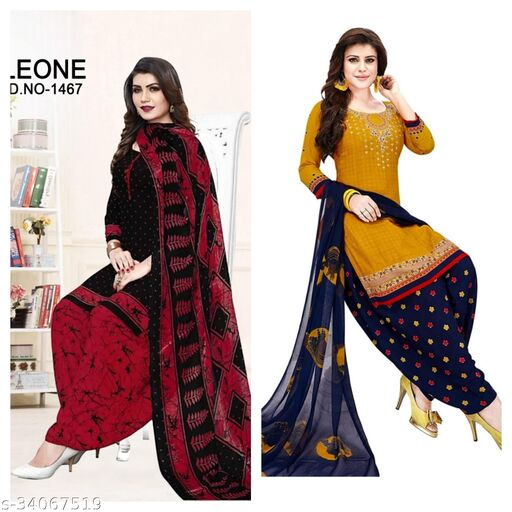 Lovely Printed Unstiched Suits Material(pack of 2)