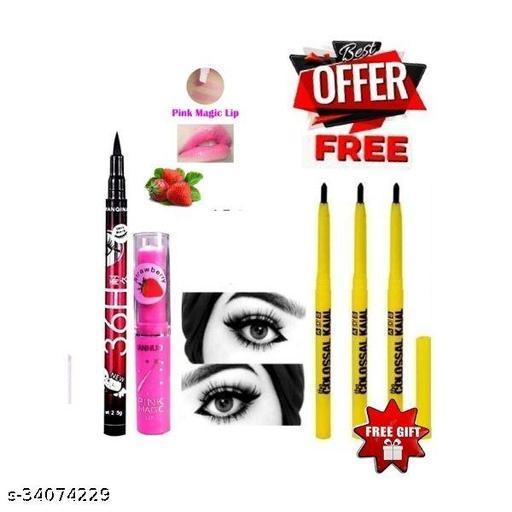 black colossal kajal pack of 3+pink magic lip balm pack of 1+36h pen eyeliner pack of 1