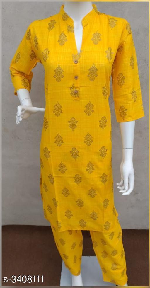 Kurta Sets Women's Floral Printed Yellow Cotton Kurta Set with Pants  *Fabric* Kurti - Cotton Slub, Pant -Cotton Slub  *Sleeves* Sleeves Are Included  *Size* Kurti - L- 40 in, XL - 42 in,  Pant - L- 32 in, XL - 34 in  *Length* Kurti - Up To 42 in, Pant - Up To 34 in  *Type* Stitched  *Description* It Has 1 Piece Of Women's Kurti With 1 Piece Of Pant  *Work* Kurti - Printed, Pant - Printed  *Sizes Available* M, L, XL *    Catalog Name: Women's Floral Printed Cotton Kurta Set with Pants CatalogID_473045 C74-SC1003 Code: 805-3408111-