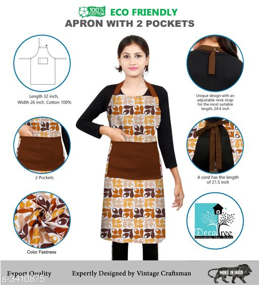 DECOTREE® 100% Cotton Bib Apron with 2 Pockets, Adjustable Neck Strap and Extra Long Ties