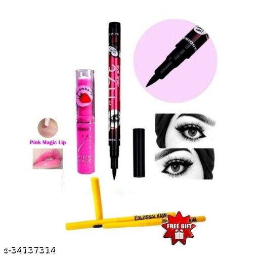 36h shills sketch eyeliner black pack of 1+pink magic lip balm pack of 1+ colossal kajal pack of 2