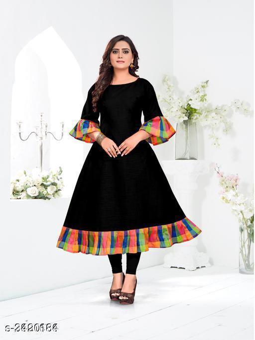 Women's Checked Black Cotton Kurti