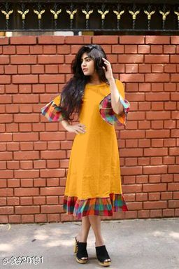 Women's Checked Yellow Cotton Kurti