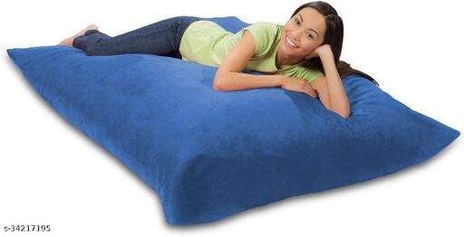 Ink Craft Velvet Square beanbag  With Bean Filling 58 x 12 inches (Navy blue  )