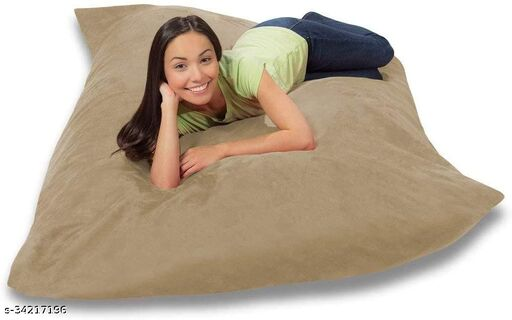Ink Craft Velvet Square beanbag Cover With Bean Filling 58 x 12 inches (Beige  )