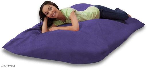 Ink Craft Velvet Square beanbag Cover With Bean Filling 58 x 12 inches (Purple  )
