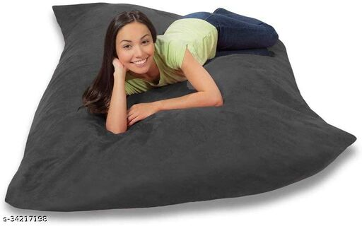 Ink Craft Velvet Square beanbag Cover With Bean Filling 58 x 12 inches (grey  )