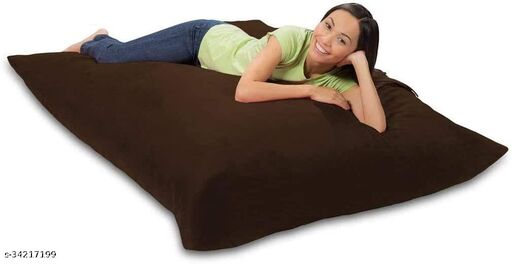 Ink Craft Velvet Square beanbag Cover With Bean Filling 58 x 12 inches (Brown  )