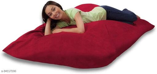 Ink Craft Velvet Square beanbag Cover With Bean Filling 58 x 12 inches (Red  )
