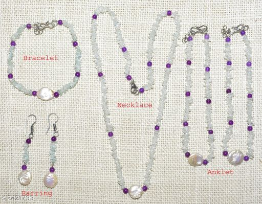 Jewellery Set Fancy Gemstone Jewellery Set  *Material* Crystal  *Size (L)* 21 in  *Description* It Has 1 Piece Of Necklace, 1 Piece Of Bracelet , 1 Pair Of Earring & 1 Pair Of Anklet  *Work* Embellished  *Sizes Available* Free Size *    Catalog Name: Attractive Fancy Gemstone Jewellery Sets Vol 1 CatalogID_475262 C77-SC1093 Code: 678-3421799-