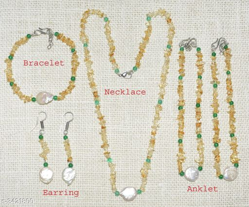 Jewellery Set Fancy Gemstone Jewellery Set  *Material* Crystal  *Size (L)* 21 in  *Description* It Has 1 Piece Of Necklace, 1 Piece Of Bracelet , 1 Pair Of Earring & 1 Pair Of Anklet  *Work* Embellished  *Sizes Available* Free Size *    Catalog Name: Attractive Fancy Gemstone Jewellery Sets Vol 1 CatalogID_475262 C77-SC1093 Code: 678-3421800-