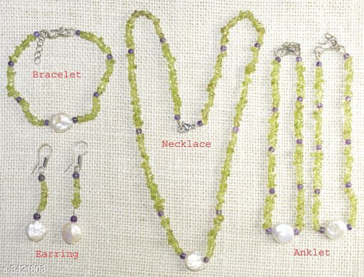 Jewellery Set Fancy Gemstone Jewellery Set  *Material* Crystal  *Size (L)* 21 in  *Description* It Has 1 Piece Of Necklace, 1 Piece Of Bracelet , 1 Pair Of Earring & 1 Pair Of Anklet  *Work* Embellished  *Sizes Available* Free Size *    Catalog Name: Attractive Fancy Gemstone Jewellery Sets Vol 1 CatalogID_475262 C77-SC1093 Code: 678-3421803-
