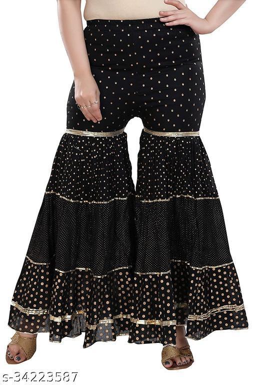 Dream Desi Women's Designer Polka Dots Lining Border Gharara/Palazzo