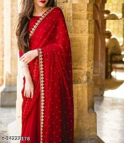 new fancy dalia saree red