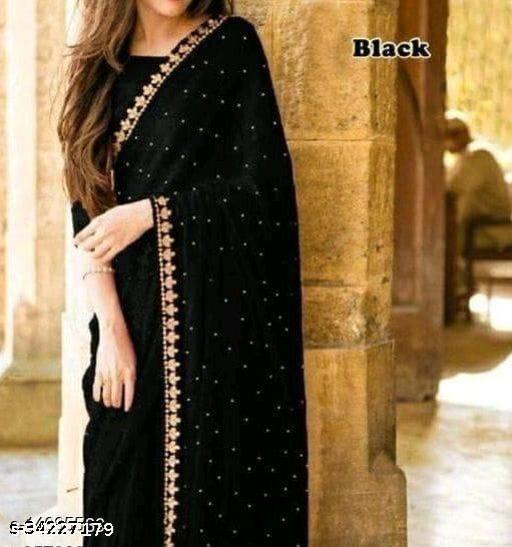new fancy dalia saree black