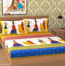 Fancy Comfy Cotton Printed Double Bedsheet