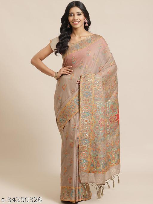 Parchhai Designer Women's Gorgeous Grey Color Pashmina Liva Silk Pure Viscose Saree