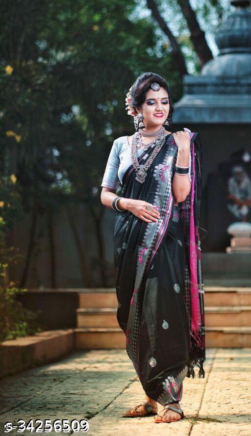 Dmor Paithani Cotton Silk Sarees With Contrast Blouse Piece (Black & Silver)