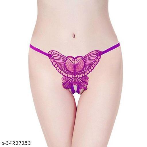 Women Bikini Purple Cotton Blend Panty