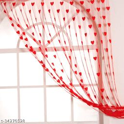 Dream Trading HEART Net Curtains for Home 7 feet Door Curtain (Set of 2)