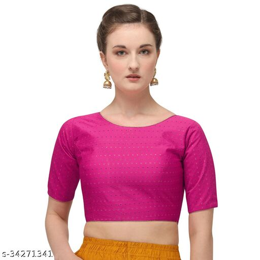 Bhavyam Women's Jacquard Pink Blouse With Boat Neck  (BL-20082-Pink)_Free_Size