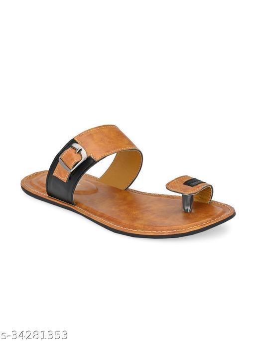 ZORIK Men Tan Synthetic Leather Sandals (Chappal)