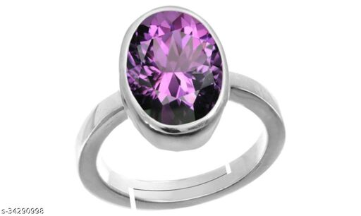 Amethyst Jamuniya Gemstone Weight 9.25 Ratti Adjustable Premium Ring Panch Dhatu Silver Coated for Men and Women with Lab Certificate