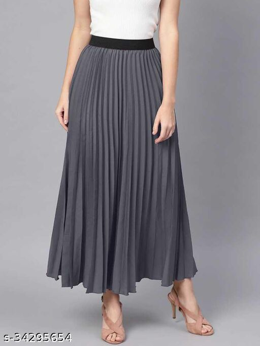 Women Solid Pleated Grey Skirt
