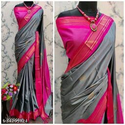 KMH Traditional Paithani Silk Sarees With Contrast Blouse Piece (Silver Grey & Pink)