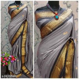 KMH Traditional Paithani Silk Sarees With Contrast Blouse Piece (Grey & Black)