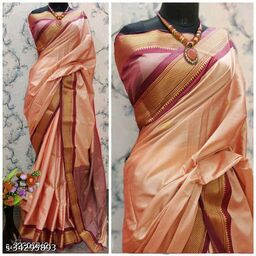 KMH Traditional Paithani Silk Sarees With Contrast Blouse Piece (Copper & Red)