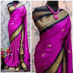 KMH Traditional Paithani Silk Sarees With Contrast Blouse Piece (Rani & Black)