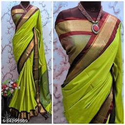 KMH Traditional Paithani Silk Sarees With Contrast Blouse Piece (Lemon & Brown)