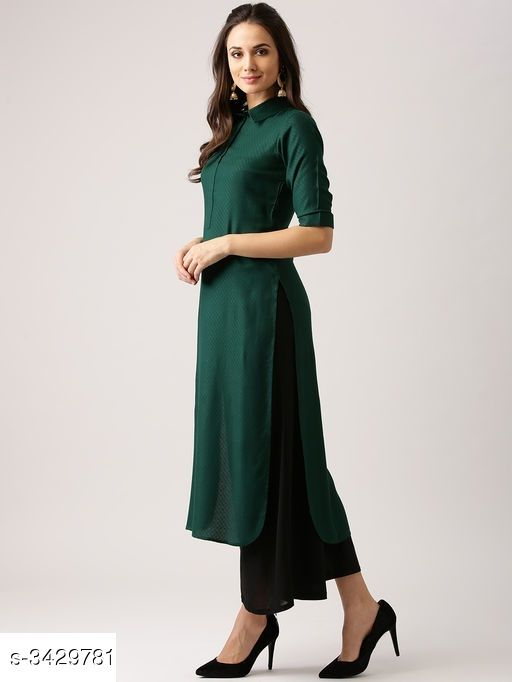 Kurtis & Kurtas Navratri Special Peacock green Designer Heavy Rayon Solid Women's Kurti  *Fabric* Heavy Rayon  *Sleeves* Sleeves Are Included  *Size* M - 38 in, L - 40 in, XL - 42 in, XXL - 44 in  *Length* Up To 46 in  *Type* Stitched  *Description* It Has 1 Piece Of Women's Kurti  *Work* Button Work  *Sizes Available* M, L, XL, XXL   Catalog Rating: ★3.9 (495) Supplier Rating: ★3.9 (7059) SKU: LQ-KU-08_B Shipping charges: Rs1 (Non-refundable) Pkt. Weight Range: 500  Catalog Name: Women's Solid Rayon Kurtis - Heer enetrprises Code: 053-3429781--144