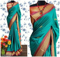 KMH Traditional Paithani Silk Sarees With Contrast Blouse Piece (Cyan & Brown)