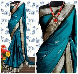 KMH Traditional Paithani Silk Sarees With Contrast Blouse Piece (Chintamani & Silver Black)