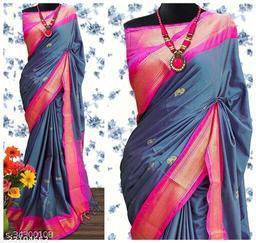 KMH Traditional Paithani Silk Sarees With Contrast Blouse Piece (Morpankhi & Pink)