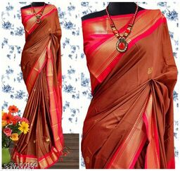 KMH Traditional Paithani Silk Sarees With Contrast Blouse Piece (Brick Brown & Red)