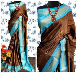 KMH Traditional Paithani Silk Sarees With Contrast Blouse Piece (Coffee  & Sky Blue)