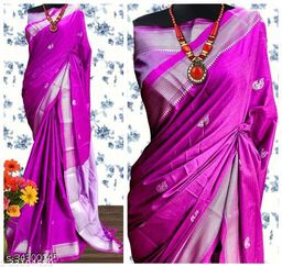 KMH Traditional Paithani Silk Sarees With Contrast Blouse Piece (Rani & Silver)
