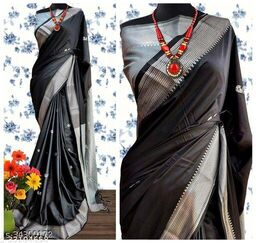 KMH Traditional Paithani Silk Sarees With Contrast Blouse Piece (Black & Silver)