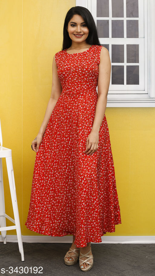 Women's Printed Red Polyester Dress